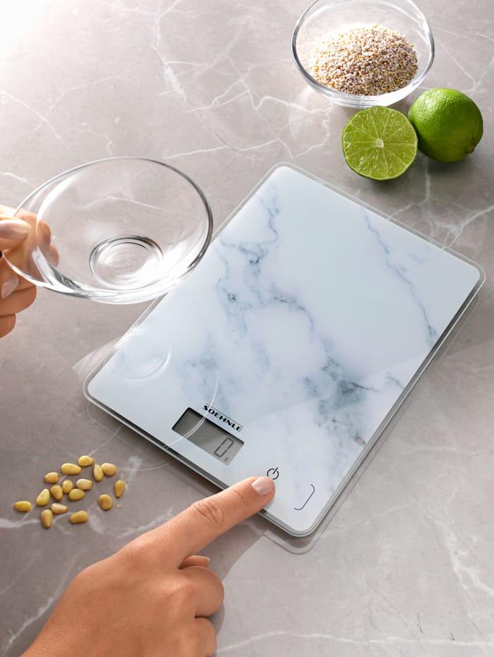 """Soehnle Balance de cuisine numérique """"Page Compact 300 Marble"""", Blanc"""