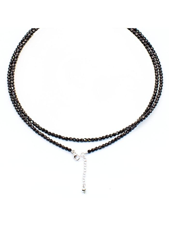 Collier 925/- Sterling Silber Kristall schwarz 80cm Glänzend