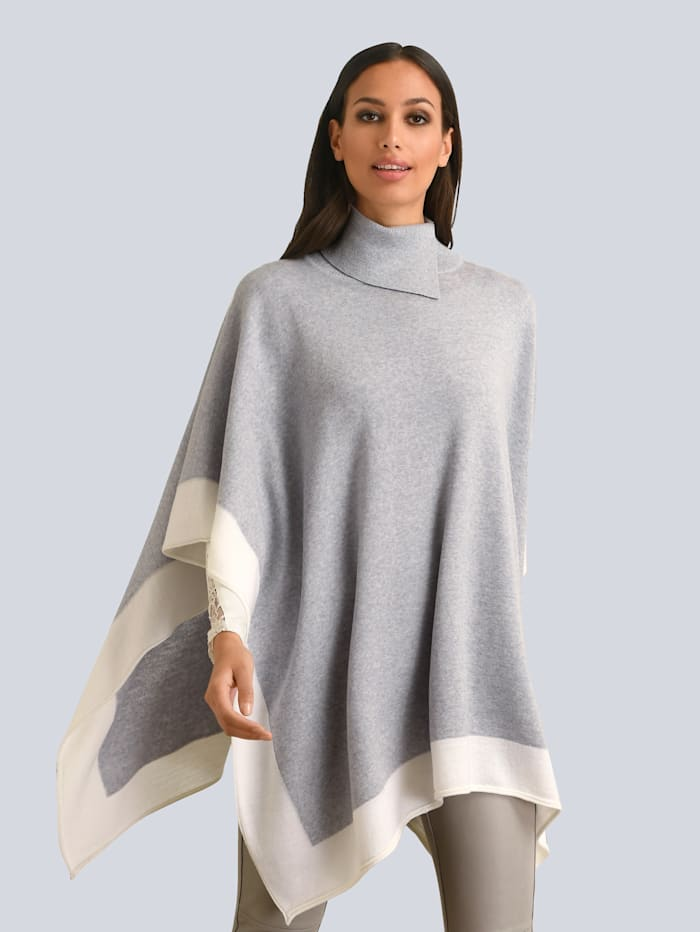 Alba Moda Pullover aus feiner Merinowolle, Grau/Weiß