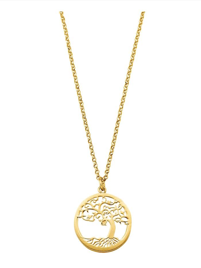 Diemer Perle Lebensbaum-Anhänger mit Kette, Gelbgoldfarben