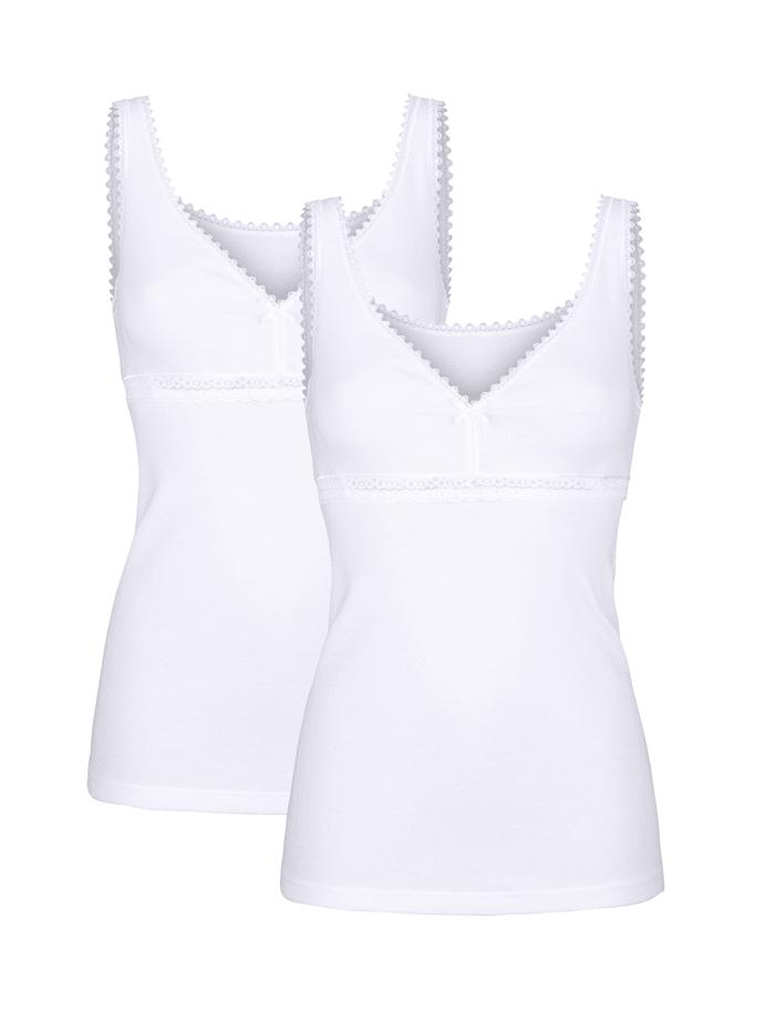 HERMKO 2 pack bra tops, White