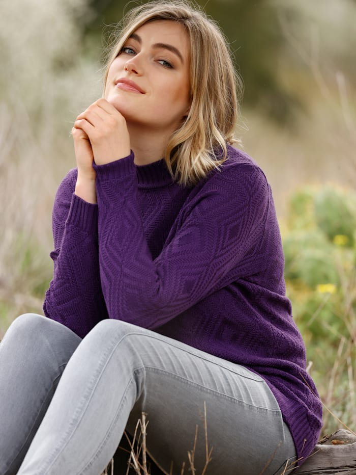 m. collection Pullover mit Strickmuster, Lila