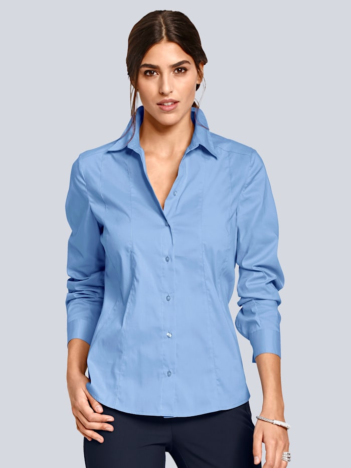 Alba Moda Overhemdblouse van mooi stretchmateriaal met fijne glans, Blauw