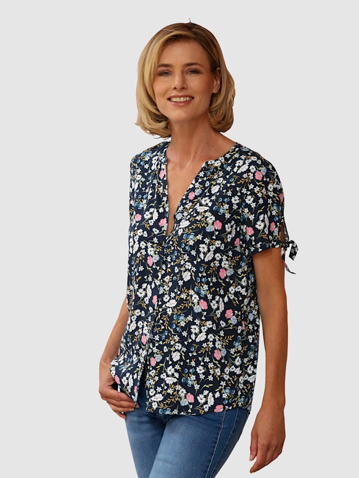 Dress In Blus med vackert blommönster, Blå