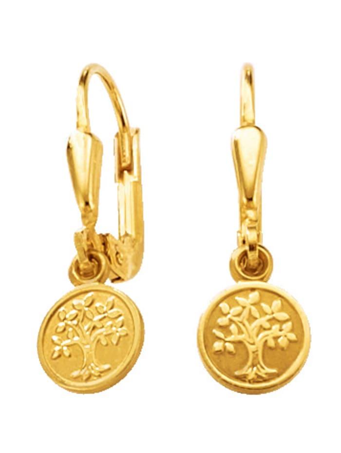 Lebensbaum-Ohrringe in Gelbgold 333, Gelbgoldfarben