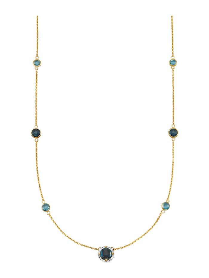Amara Farbstein Collier in Gelbgold 585, Blau