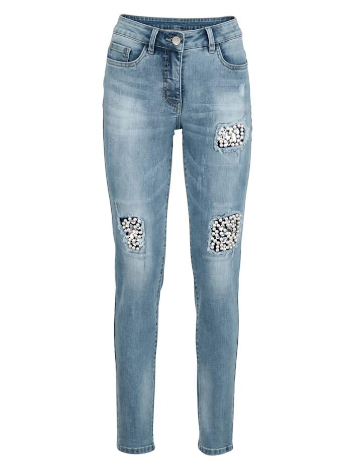 AMY VERMONT Jeans mit Strass- und Perlendekoration, Blue bleached