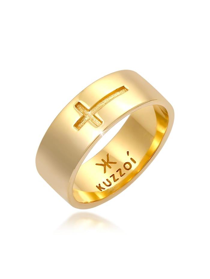 Kuzzoi Ring Herren Bandring Glanz Kreuz Glaube 925 Silber, Gold