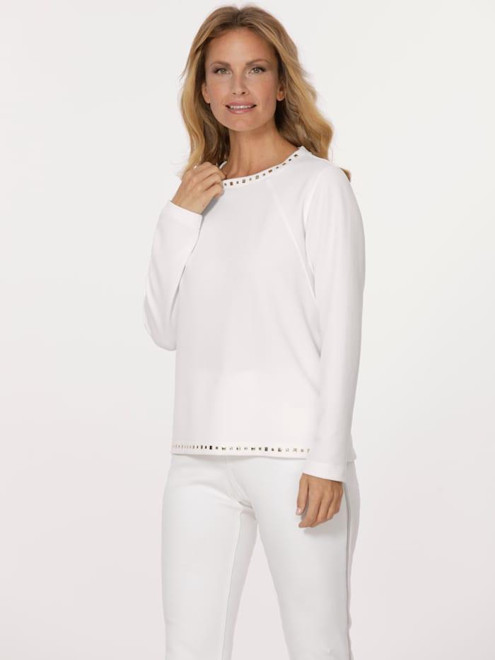 MONA Sweatshirt mit dekorativer Plättchenzier, Ecru