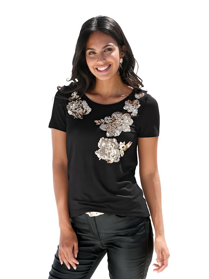 AMY VERMONT Shirt mit Paillettendekoration in floraler Form, Schwarz/Goldfarben