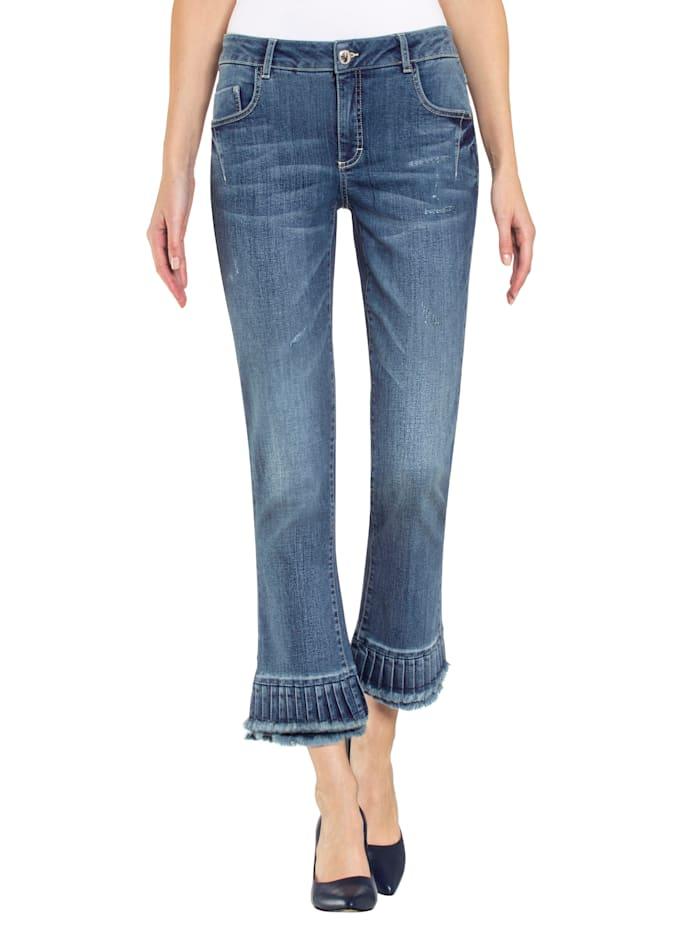 Alba Moda Jeans met modieuze volant aan de zoom, Blauw