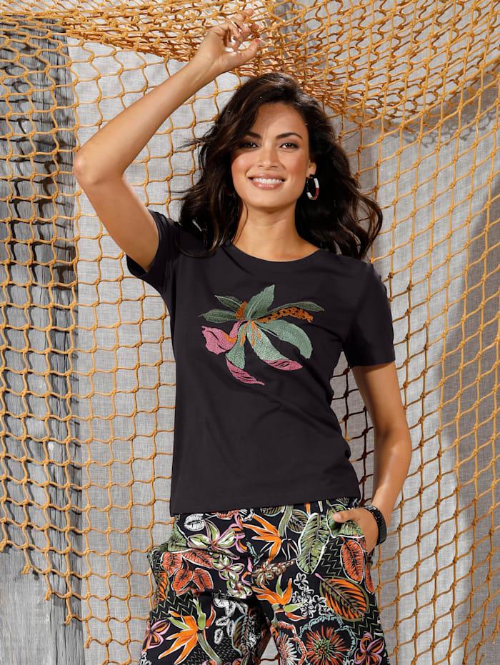 Shirt mit Blumen-Stickerei