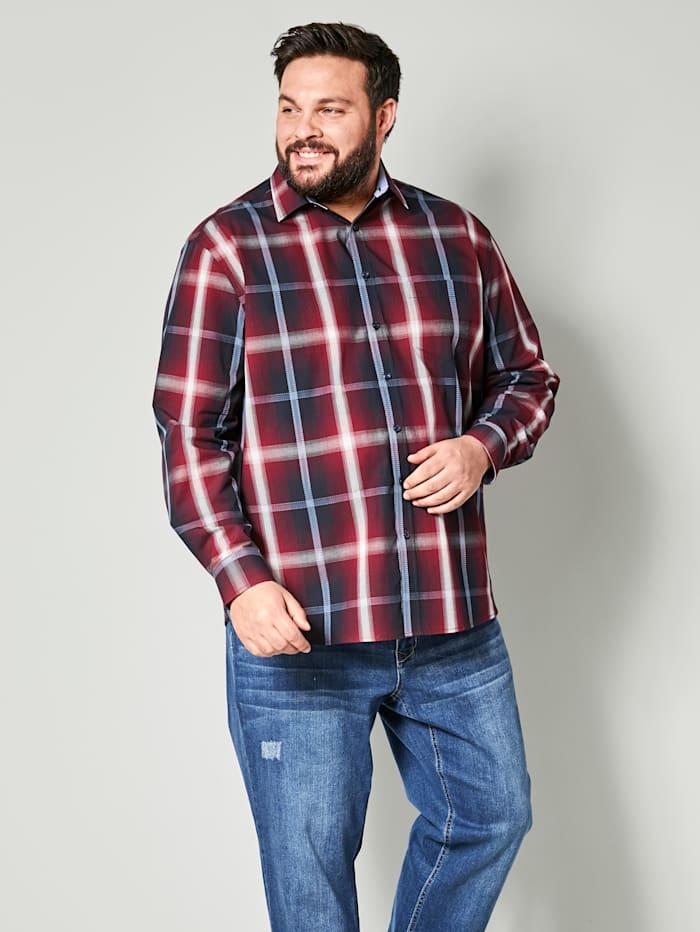 Men Plus Chemise de coupe spéciale, Rouge/Marine/Écru