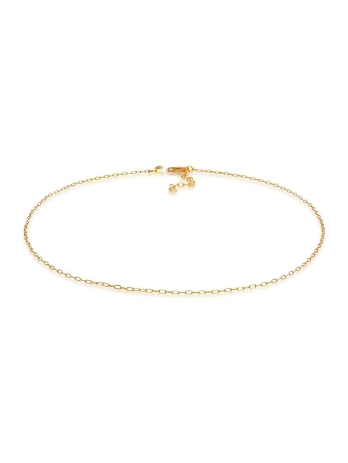 Elli Halskette Choker Gliederkette Oval Trend 925 Silber, Gold