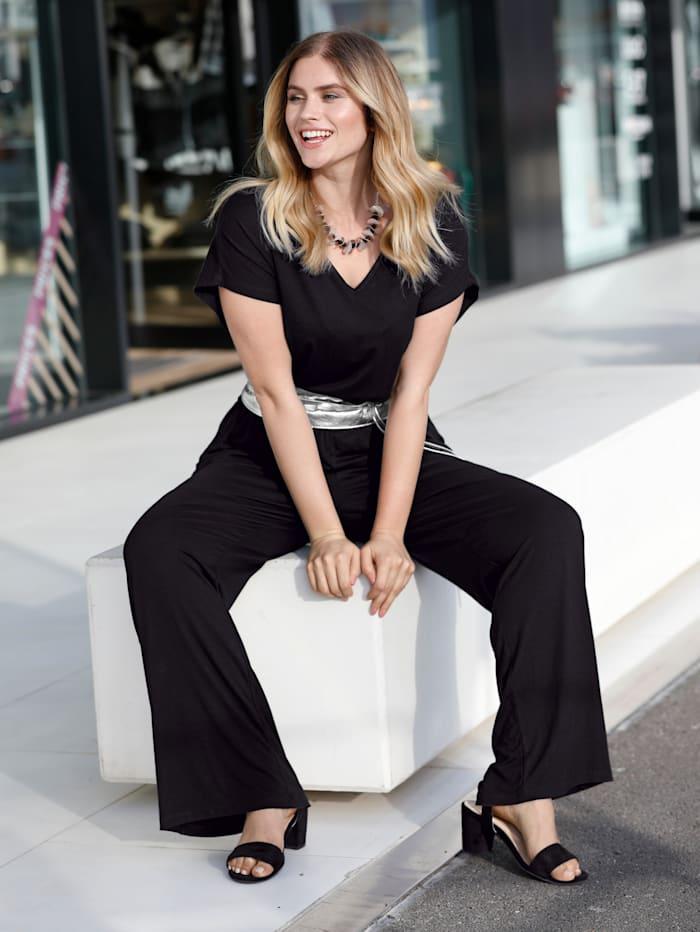 Sara Lindholm Overall in bequemer Schnittform, Schwarz