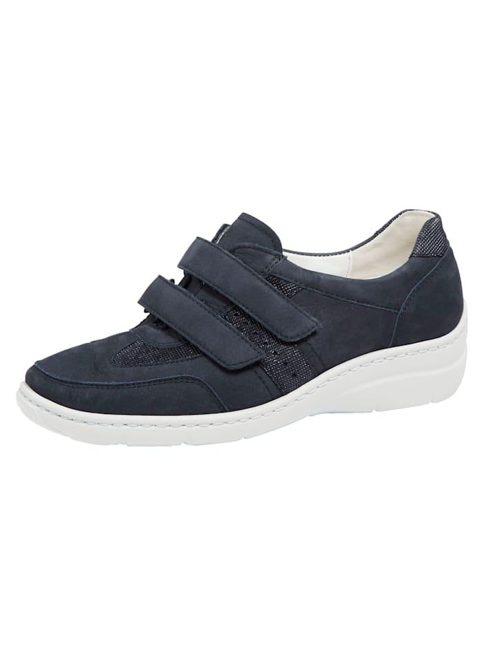 Waldläufer Klittenbandschoen met Proaktiv voetbed, Donkerblauw