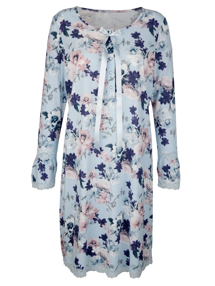 Simone Nachthemd met elegante details van kant, Lichtblauw/Rozenhout/Ecru