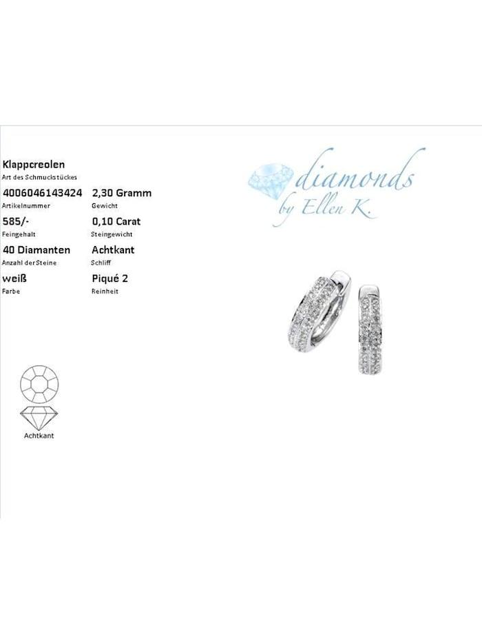 Creolen 585/- Gold Diamant weiß Diamant 1,3cm Glänzend 0,10 Karat 585/- Gold