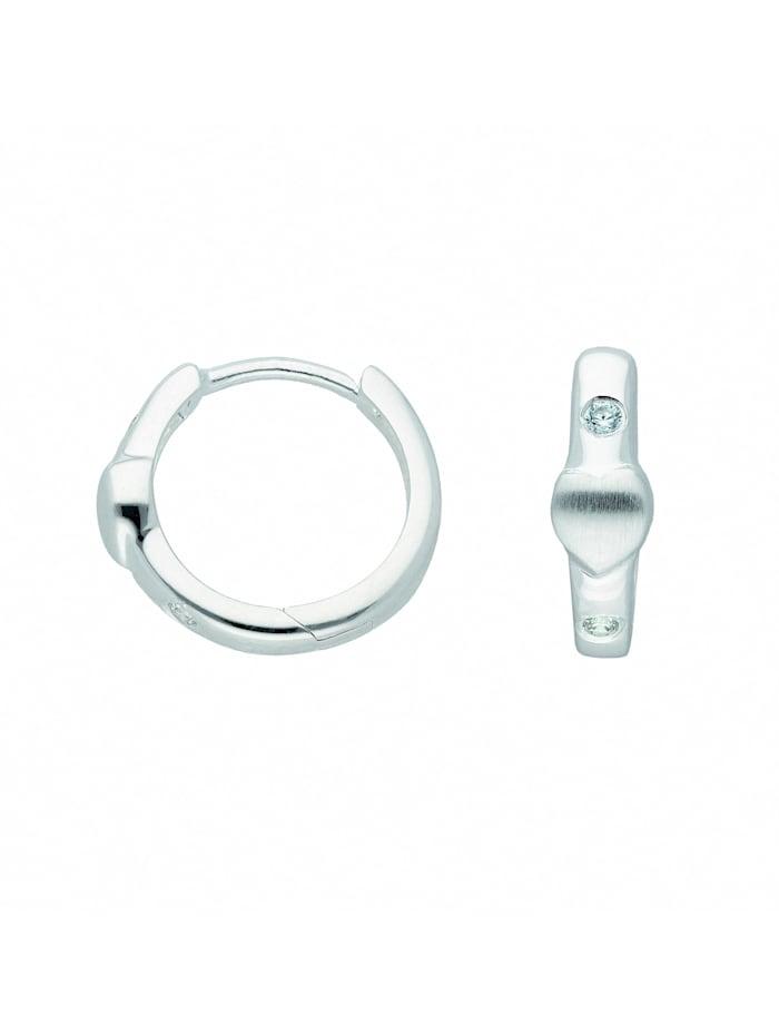 1001 Diamonds Damen Silberschmuck 925 Silber Ohrringe / Creolen Herz mit Zirkonia Ø 13,8 mm, silber