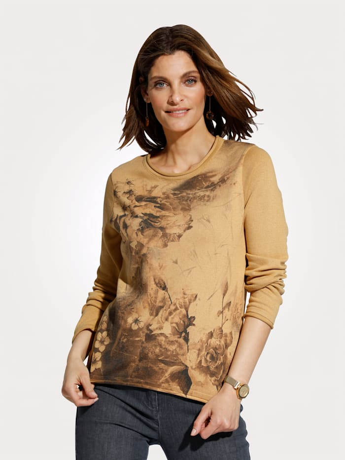MONA Pullover mit floralem Druck, Senfgelb