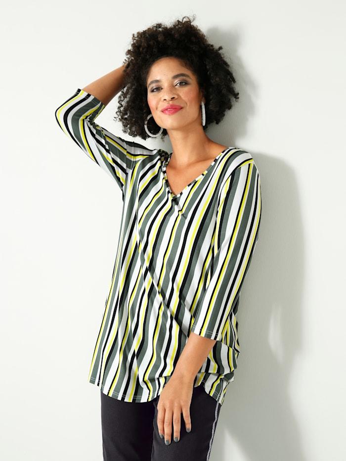 Angel of Style T-shirt long à motif rayé allongeant, Olive/Blanc/Noir