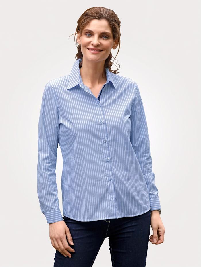 MONA Bluse mit Streifendruck, Blau