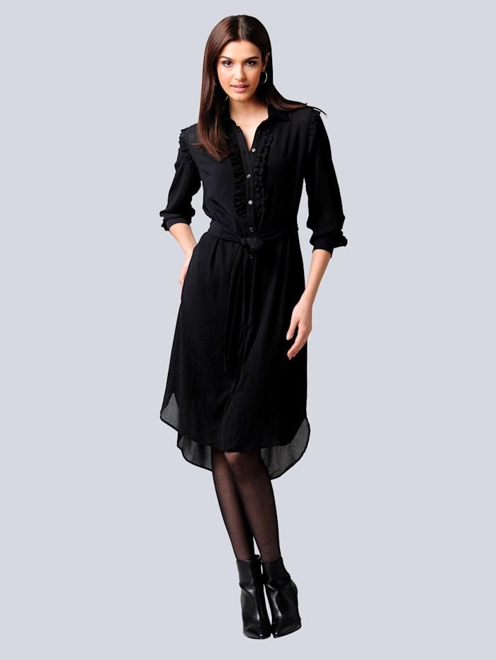 Alba Moda Kleid mit effektvoller Rüschenverarbeitung, Schwarz