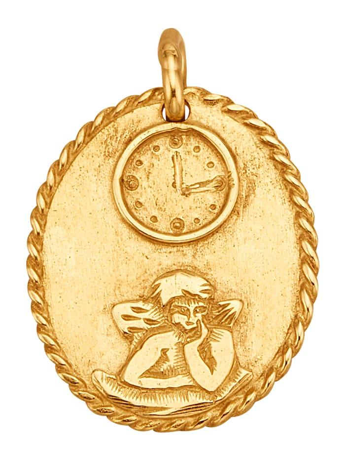 Ursula Christ Schutzengel-Anhänger mit Uhrzeitgravur, Gelbgoldfarben