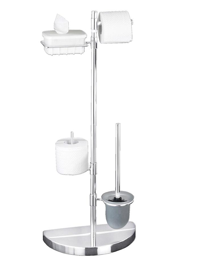 Wenko Raumspar WC-Center mit halbrundem Fuß, Silber