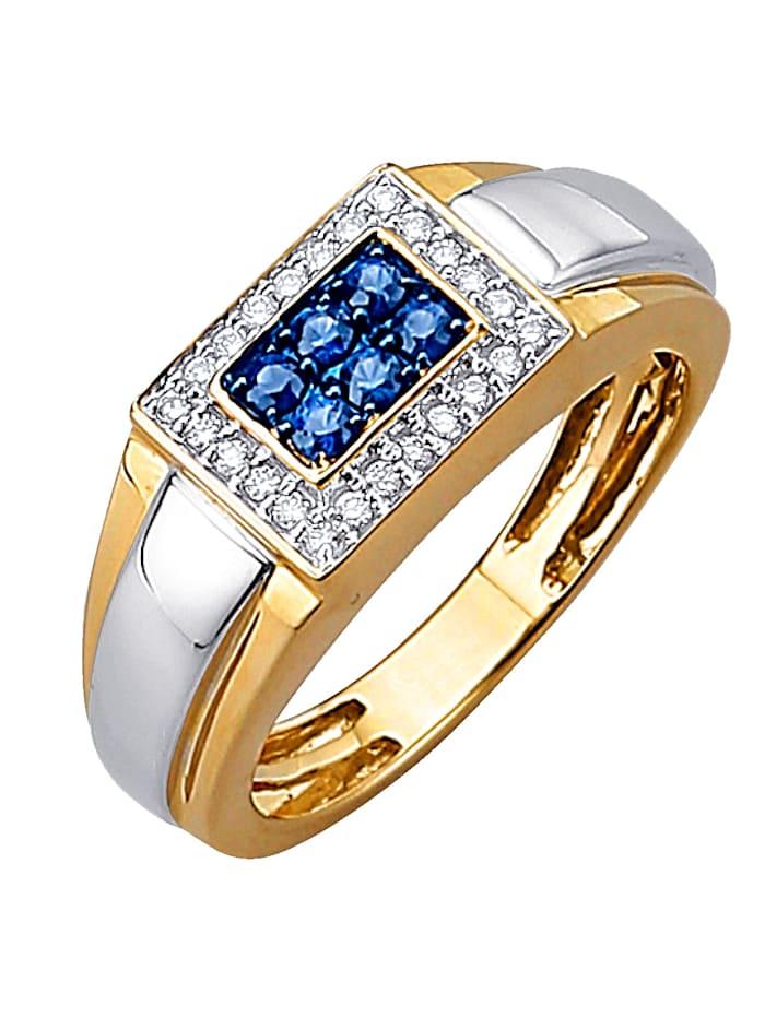 Diemer Diamant Herrenring mit Brillanten und Saphiren, Gelbgoldfarben/Weißgoldfarben