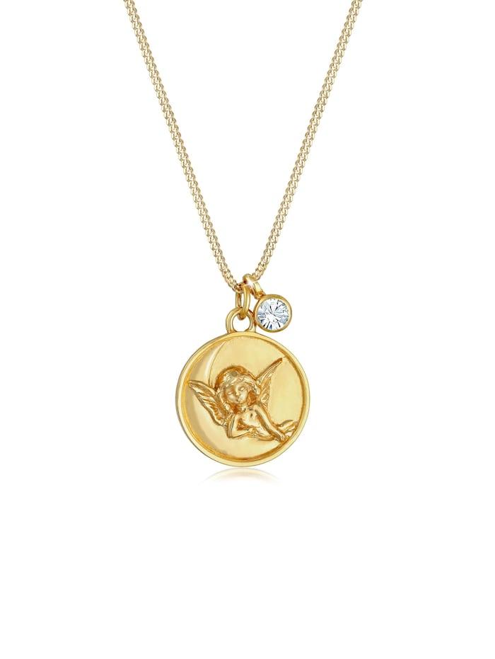 Elli Halskette Engel Plättchen Kristall 925 Silber, Gold