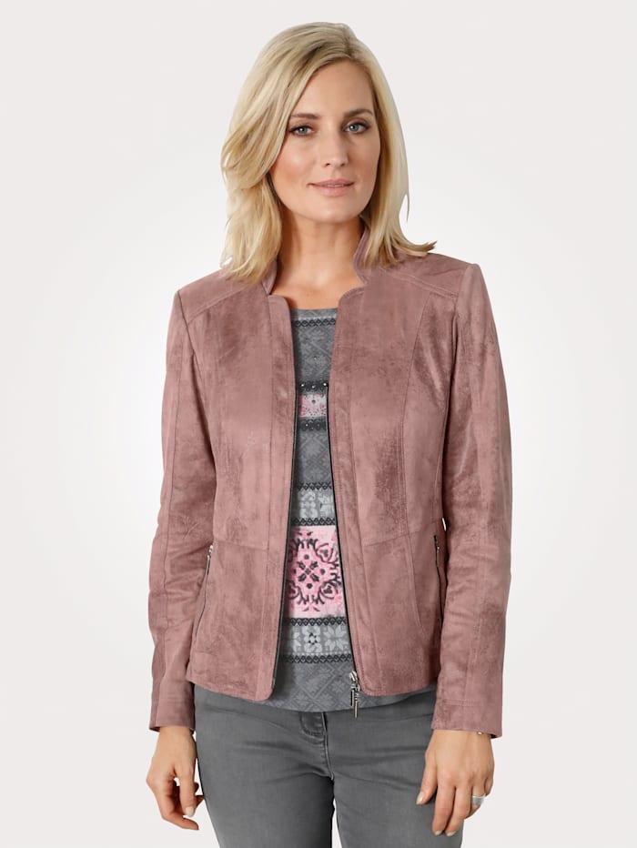 MONA Veste en cuir synthétique au look vintage, Rose