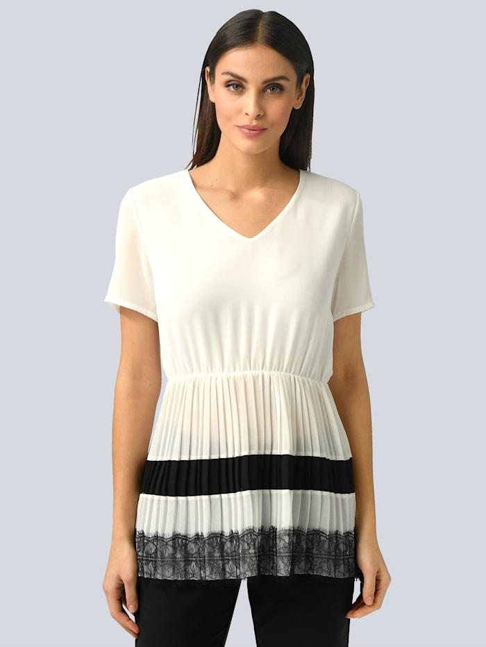 Alba Moda Bluse mit Schößchen aus Plisseé, Weiß/Schwarz