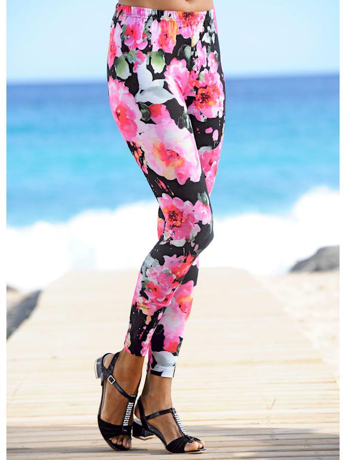 Alba Moda Leggings mit Blumendruck, schwarz-bunt