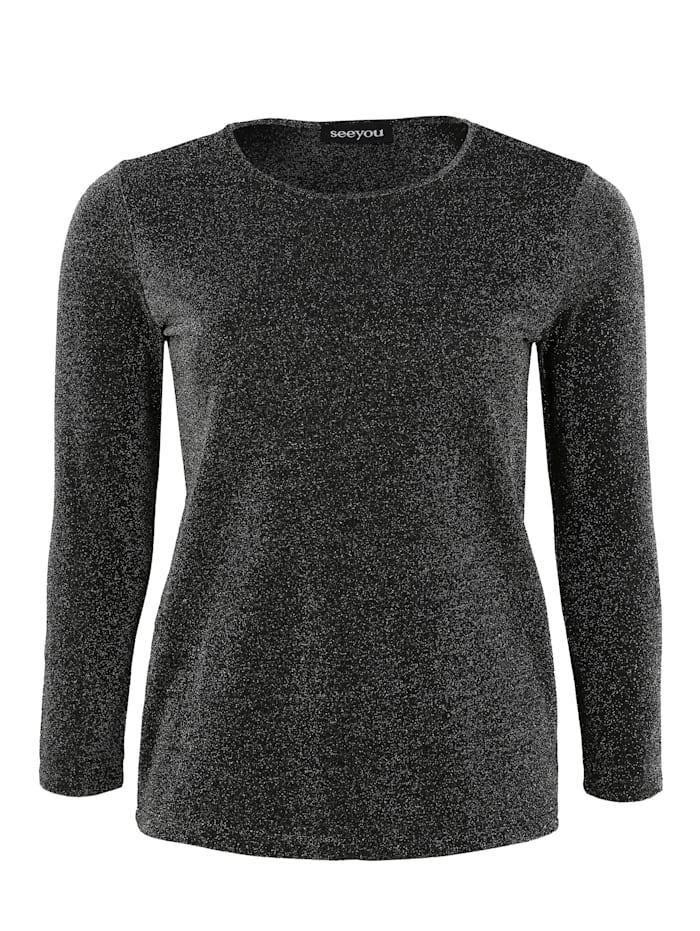 seeyou Shirt mit Rundhalsausschnitt Glitzereffekt, schwarz