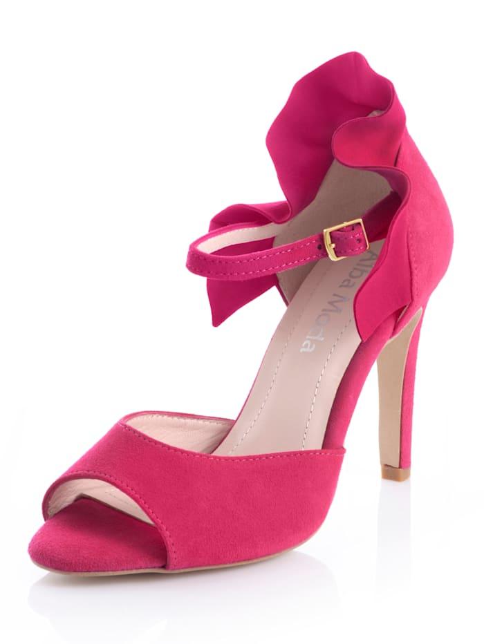 Alba Moda Sandaletter med volangdetalj, Cerise