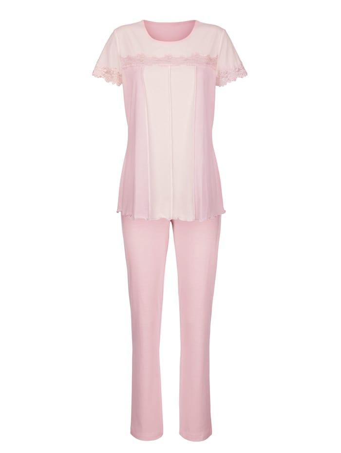 Simone Pyjama met contrastkleurige inzetten, Roze/Ecru