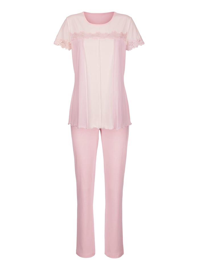 Simone Pyjamas med spetsdetaljer, Rosa/Benvit