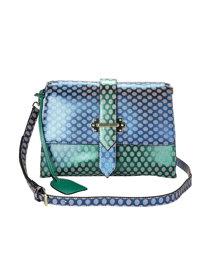 Laura Vita Veske med prikkemønster, blå/grønn