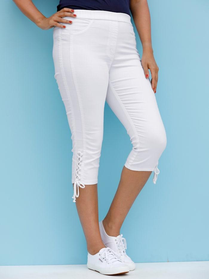 MIAMODA Caprihose mit seitlicher Schnürung am Bein, Weiß