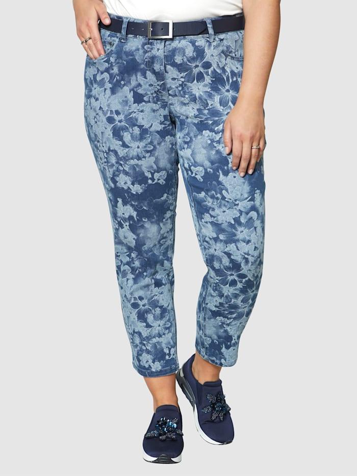 Sara Lindholm Jeans med blomstermønster, Blue stone