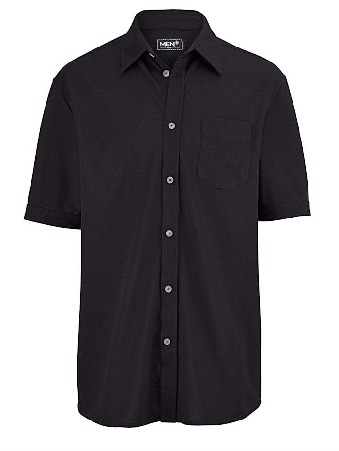 Men Plus Pikéskjorta med extra plats för magen, Svart