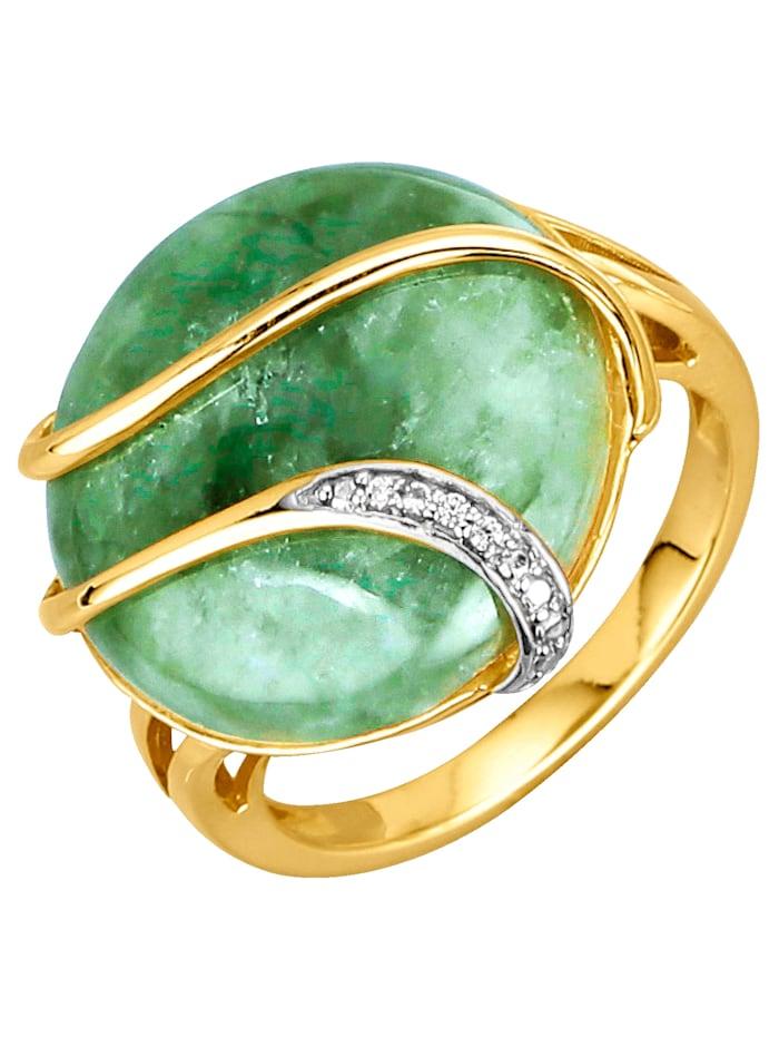 Damesring met jade-cabochon, Groen