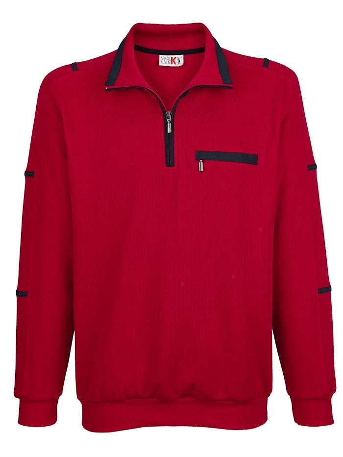 Roger Kent Sweatshirt met contrastkleurig beleg, Rood