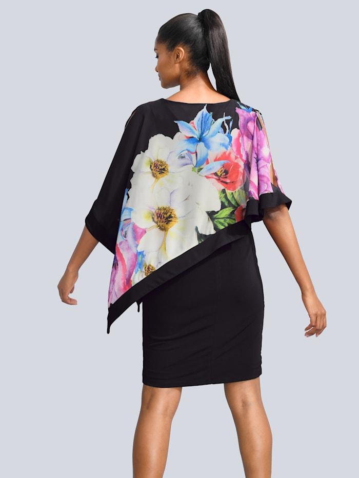 Kleid mit bedruckter Chiffonlage