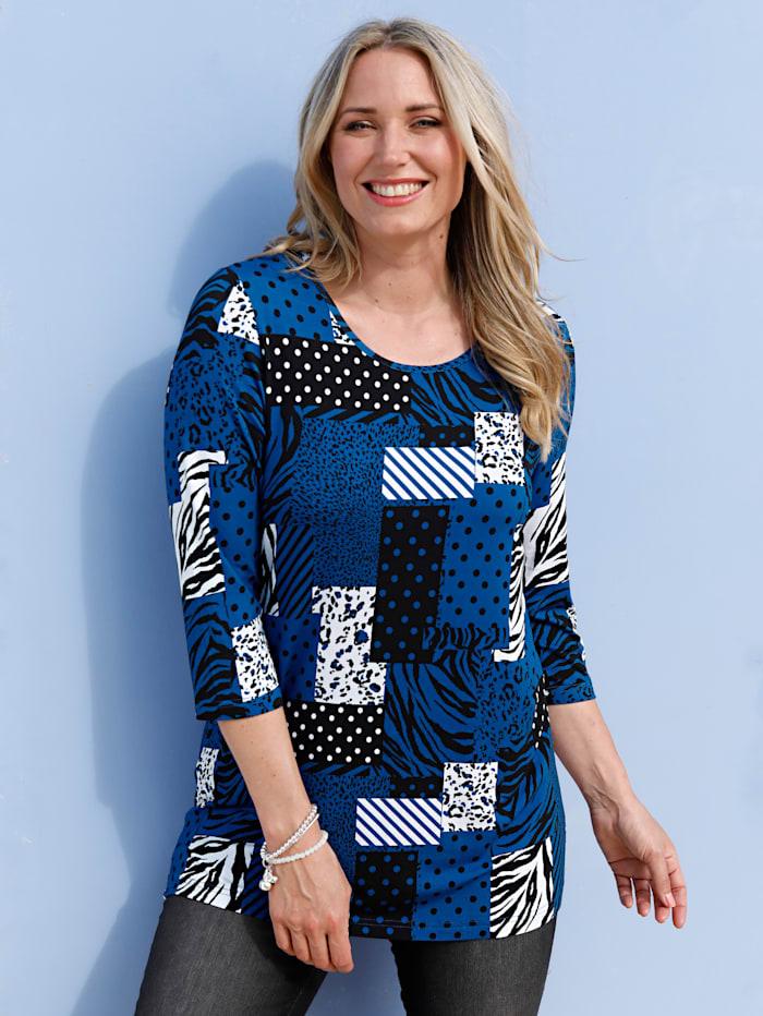 MIAMODA Shirt mit Patchdruck, Royalblau/Weiß/Schwarz