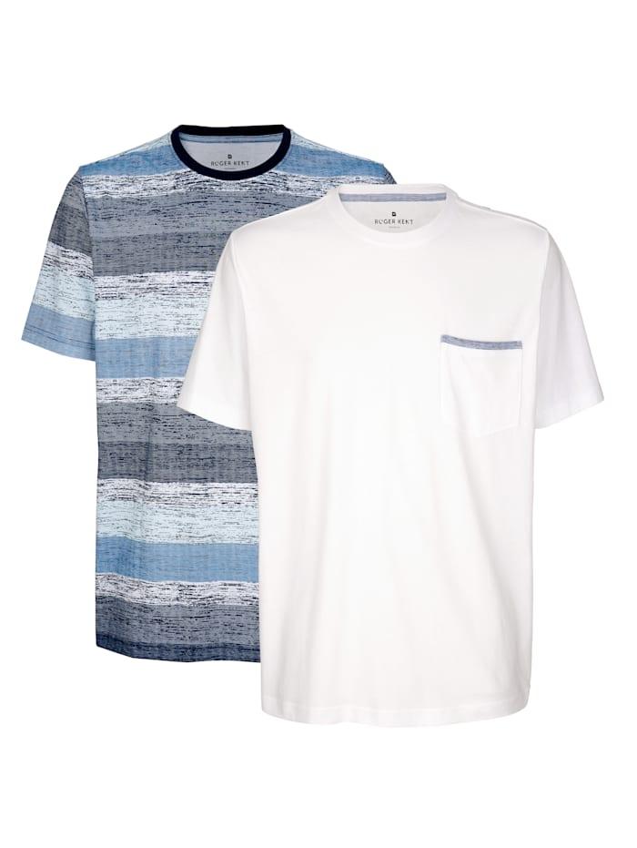 Roger Kent T-shirts per 2 2, Wit/Mint/Blauw