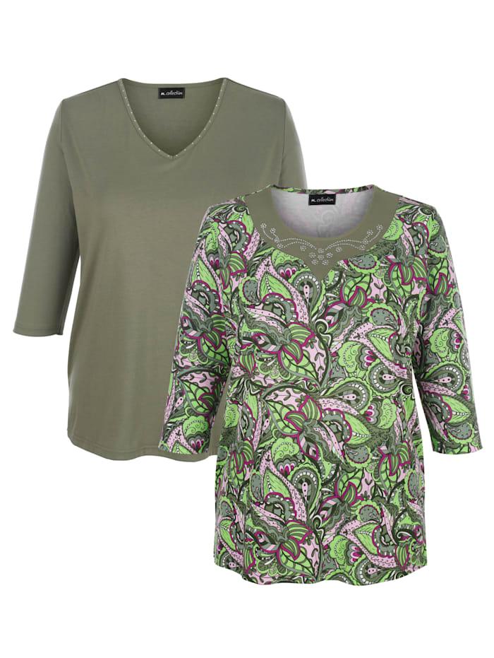 m. collection Shirts per 2 1 x met bladerenprint, 1 x effen, Olijf/Roze/Kaki