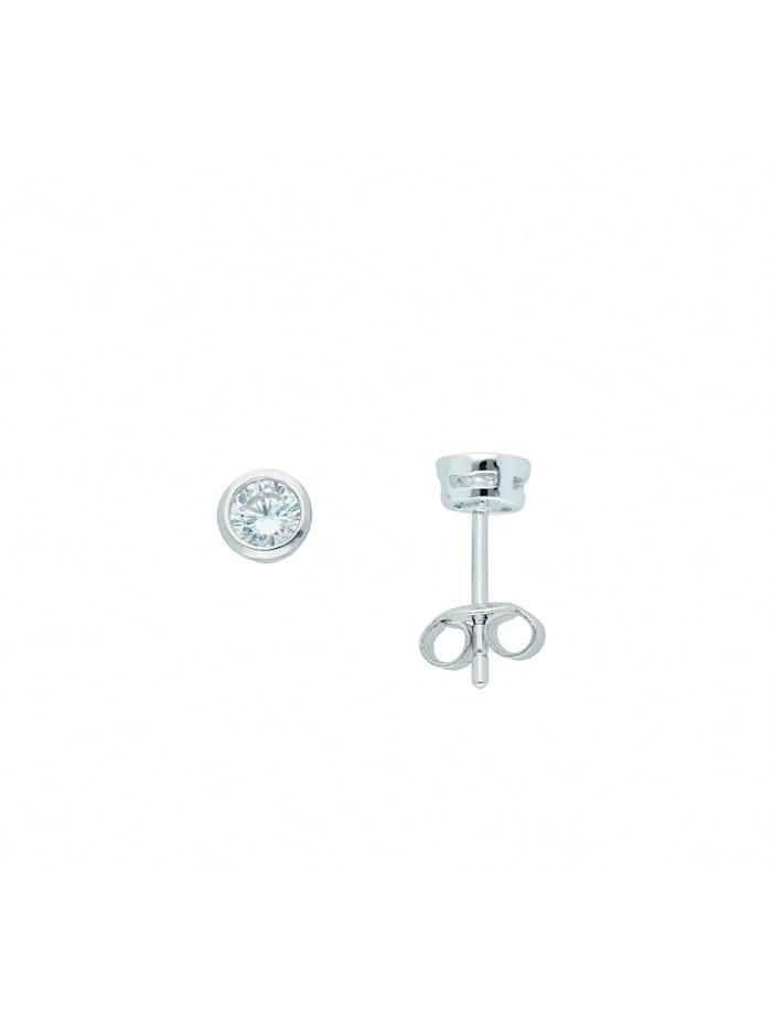 1001 Diamonds Damen Silberschmuck 925 Silber Ohrringe / Ohrstecker mit Zirkonia Ø 5 mm, silber
