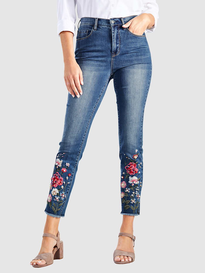 Paola 7/8-jeans med blombroderier nedtill, Blue stone